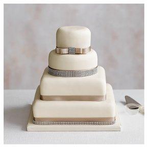 Diamante 4 Tier Ivory Wedding Cake,, Fruit (base) & Golden Sponge (3 tiers)