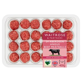 Waitrose 24 Aberdeen Angus lightly seasoned beef meatballs