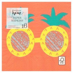 Waitrose Pineapple Glasses Napkins 33cm x 33cm