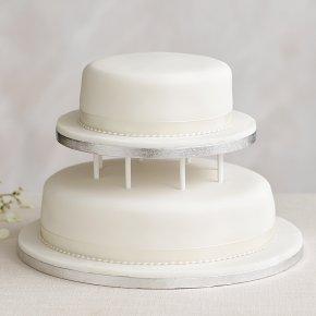 Soft Iced 2 Tier White Wedding Cake with Dowling , Madeira (Base tier) & Chocolate Sponge