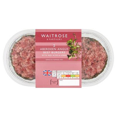 Waitrose 2 Aberdeen Angus beef burgers red wine & herbs