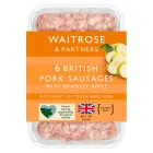 Waitrose 6 British pork sausages with bramley apple - 400g