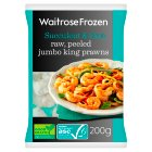 Waitrose Frozen Raw, Peeled Jumbo King Prawns - 200g